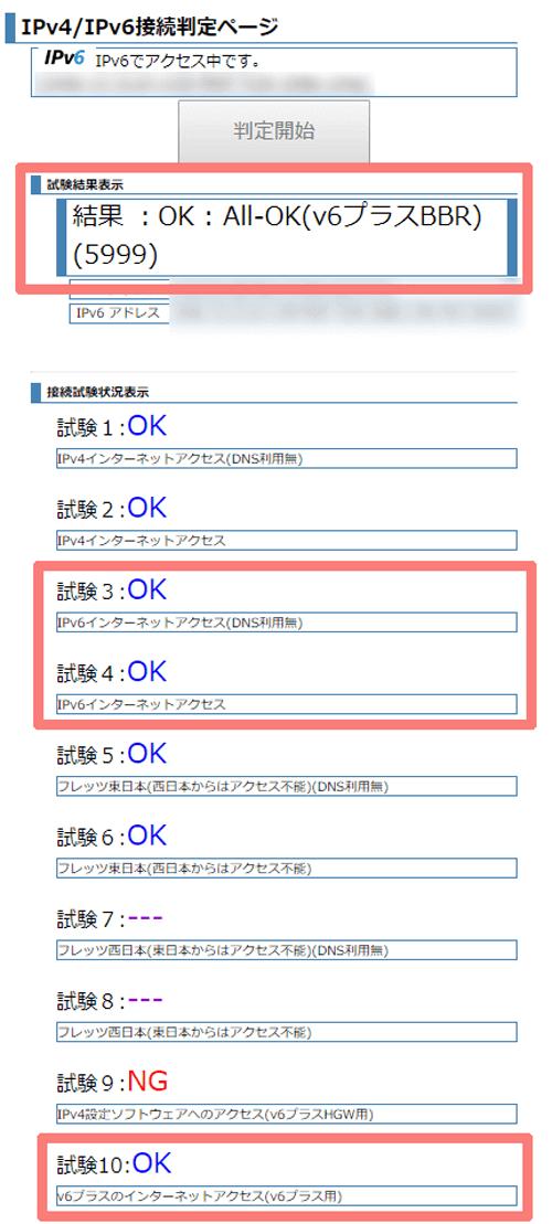 IPv4/IPv6接続判定ページの判定結果表示