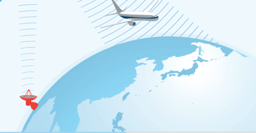 飛行機が衛星でインターネットにつながっている